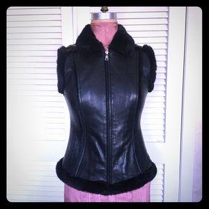 Leather Sleeveless Jacket w/ Faux Trim Zip UP Sz S